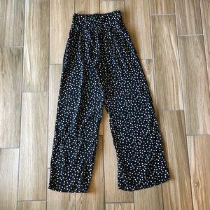 Polka dot wide legged pants
